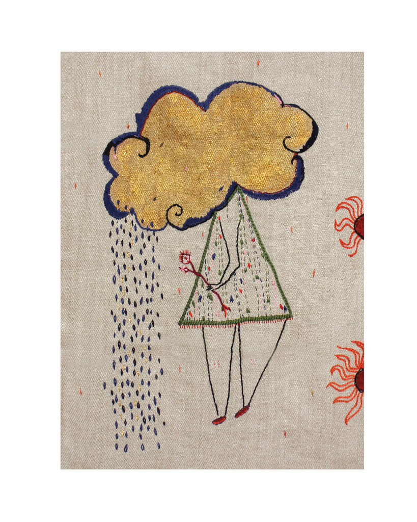 The Rain Cloud - Original Embroidery (Framed)