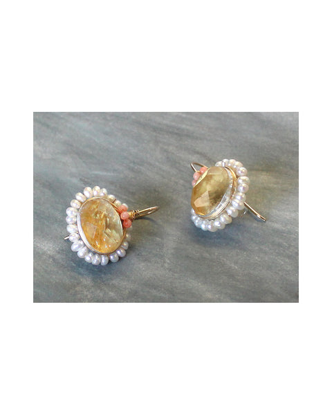 BAROQUE Cluster EARRINGS (Citrine & Pearl)