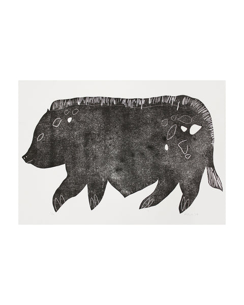 Pot Bellied Pig Linocut