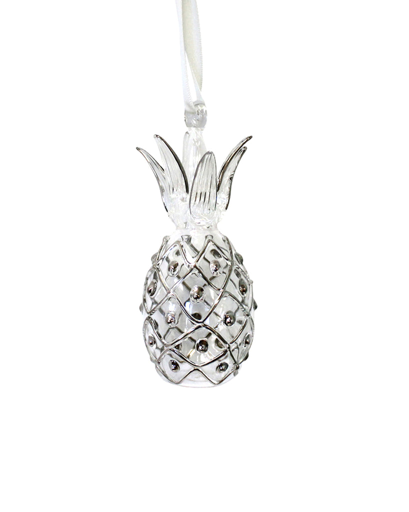 Hand Blown Decoration: Pineapple (Silver)