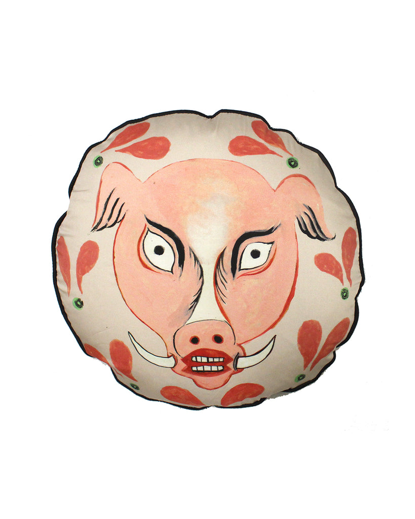 SALE: circular Cushion: Pink Hog