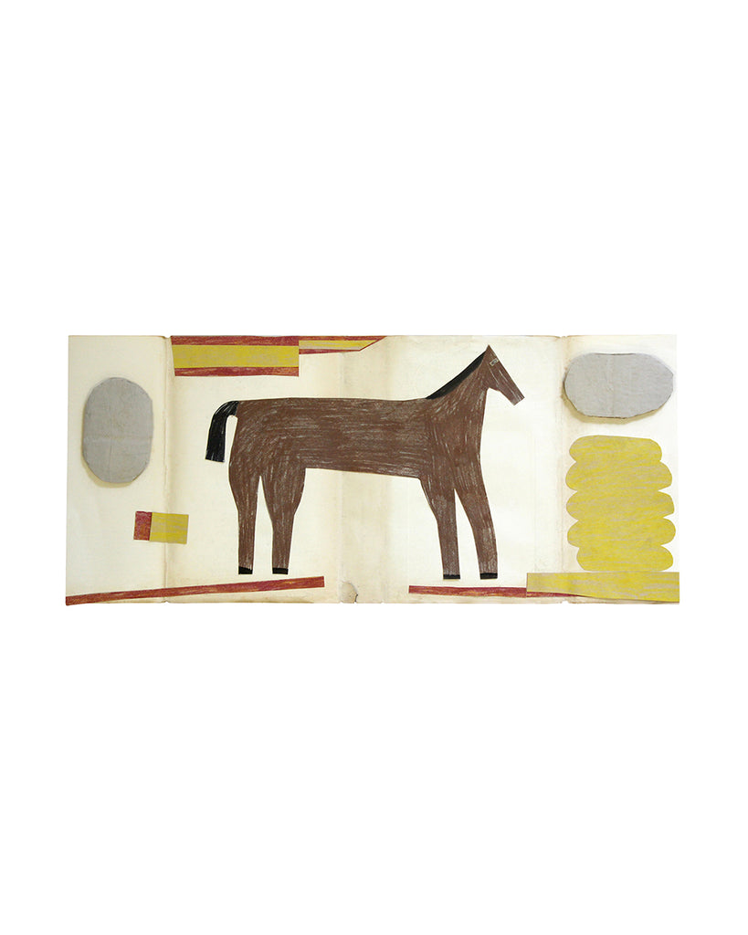 Framed Collage: Horse (Red/Yellow/Grey Ovals)