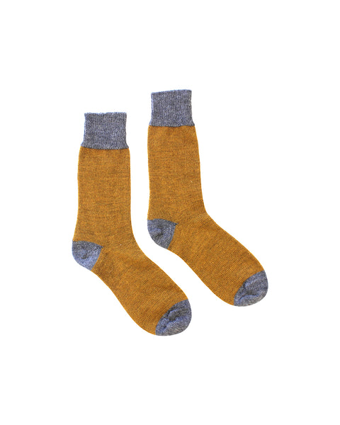 Colour Block Socks (Pumpkin & Grey)