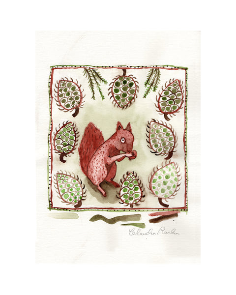 Study for Tile |  Squirrel & Pinecones