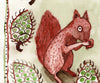 Watercolour: Study for Tile - Squirrel & Pinecones