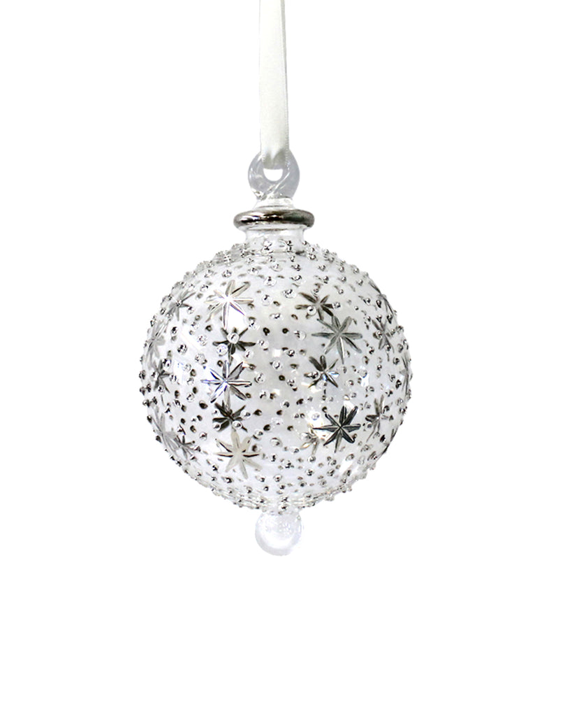 Hand Blown Decoration: Heaven Silver (large)