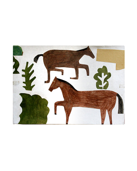 Kate Black: Box Collage: Two Horses (Green)