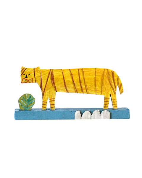SALE: Cardboard Sculpture: Tiger | White Wave