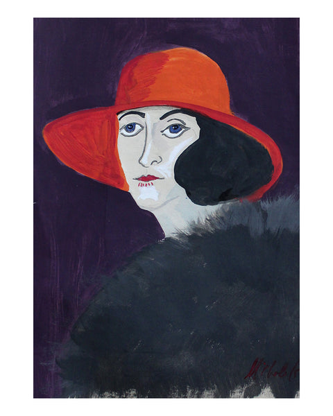 Original Painting - Vita in Orange Hat (Framed)