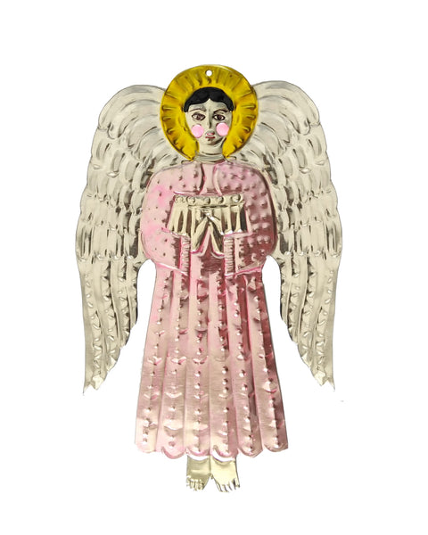 Tin Decoration Angel (Palest Pink)