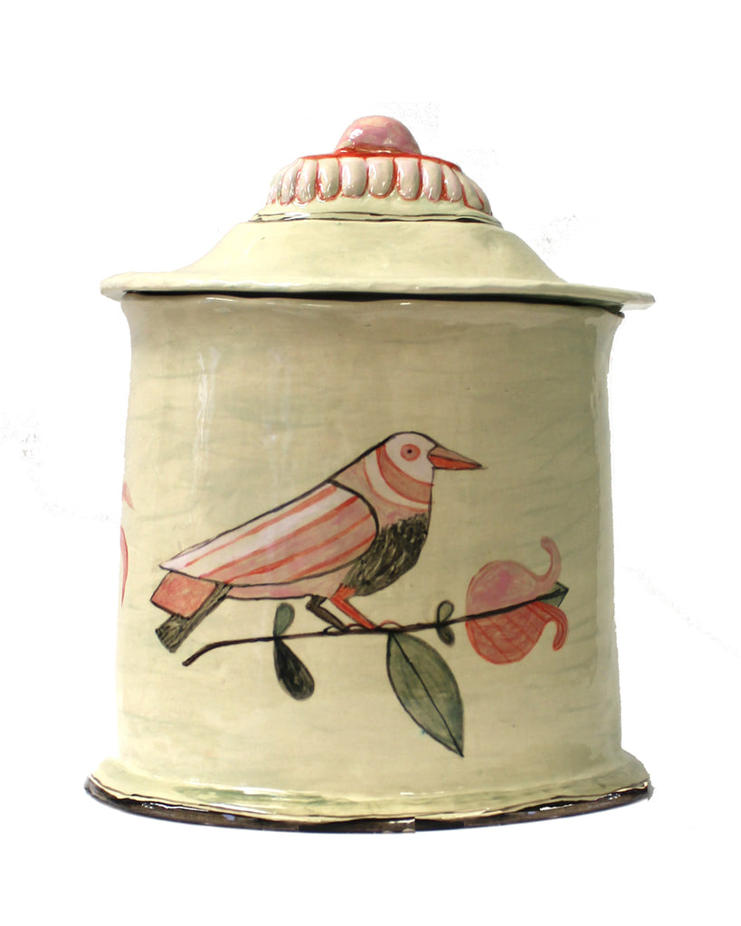 Bird & Wolf Lidded pot