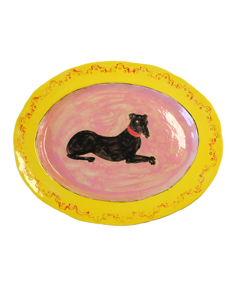 Black hound large platter
