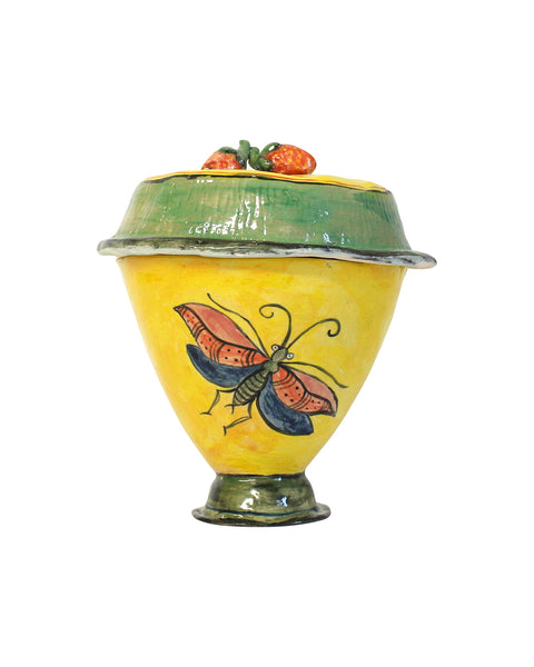 Moth with Strawberries Lidded Pot