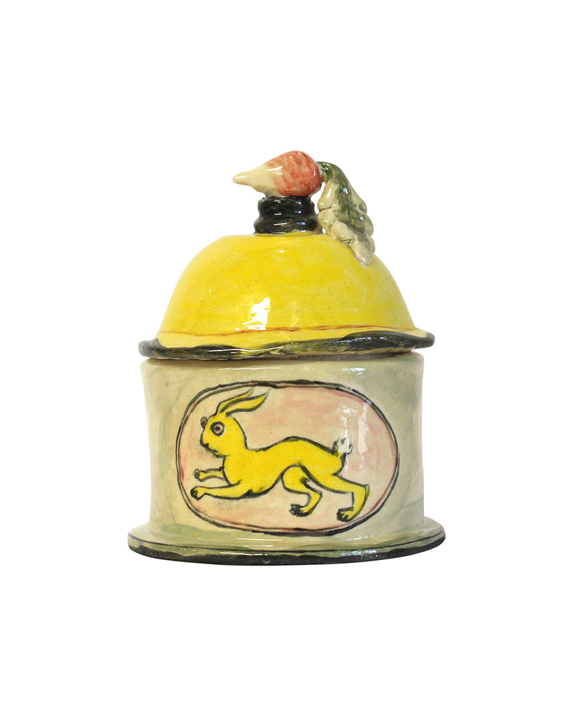 Rabbit with Radish Small Lidded Pot