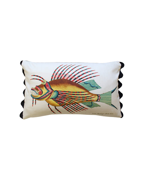 Folk Art Fish No.10 - Cushion Cover