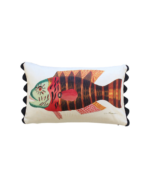 Folk Art Fish No.17 - Cushion Cover