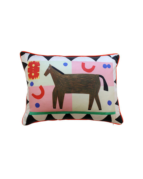 Black Flag Horse Cushion Cover