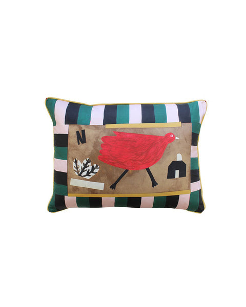 Red Bird House Cushion Cover
