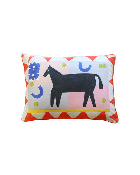 Red Flag Horse Cushion Cover