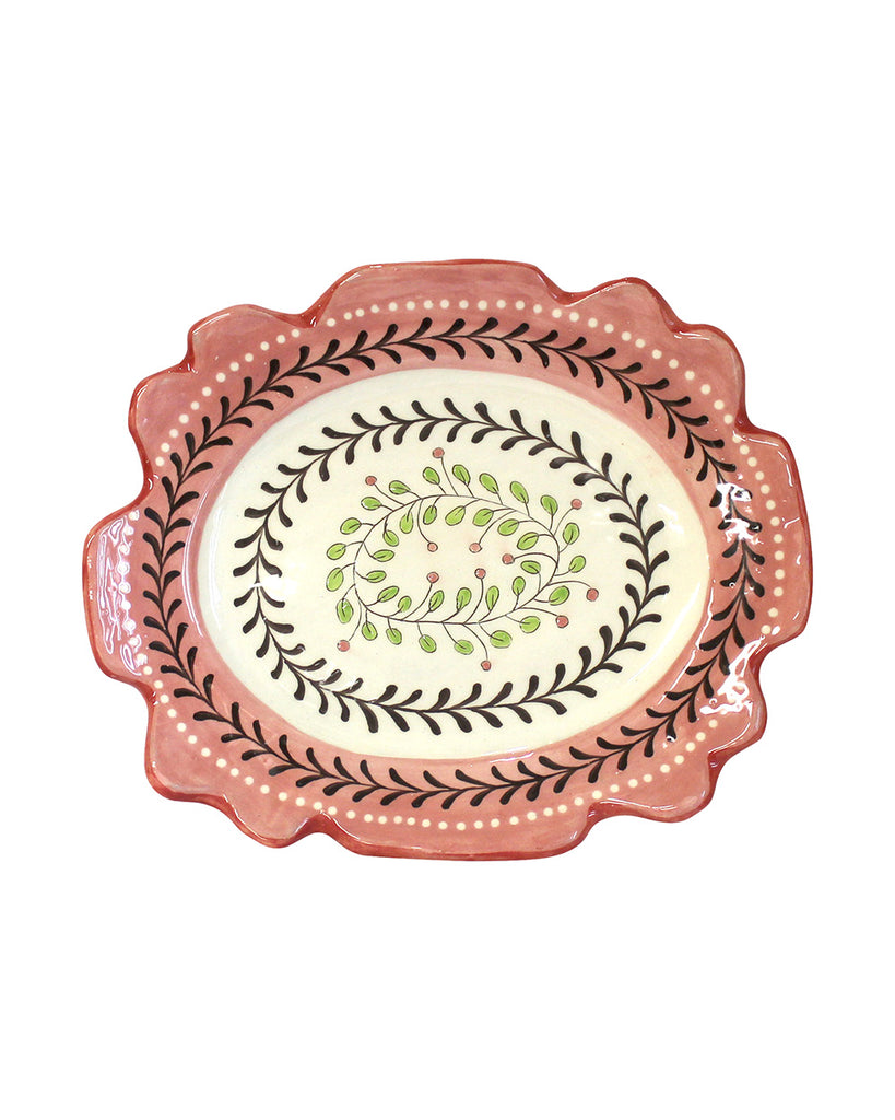 Pink Berry Garland Oval Dish