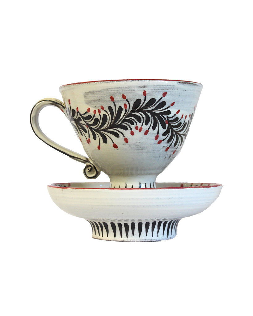 Red Berry Branch Cup & Saucer