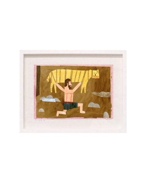 Framed Collage: Man Lifting Tiger