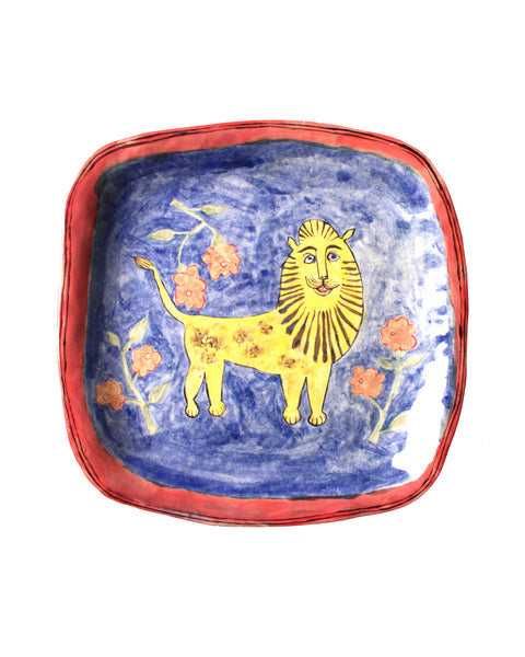 LION IN FLOWERS PLATE