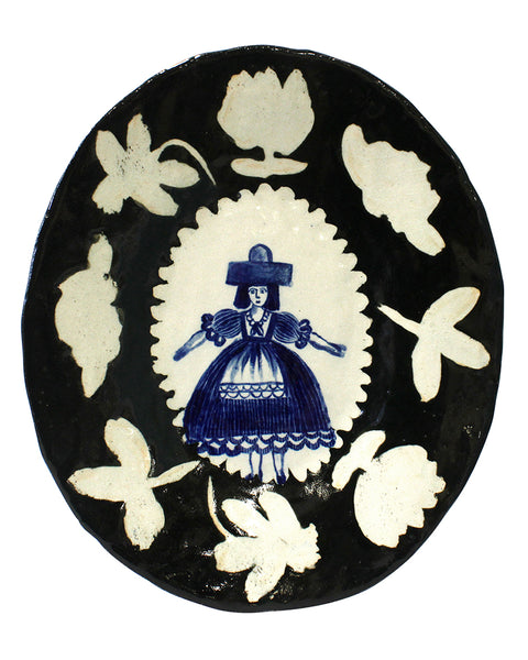 Delft Woman large platter No4