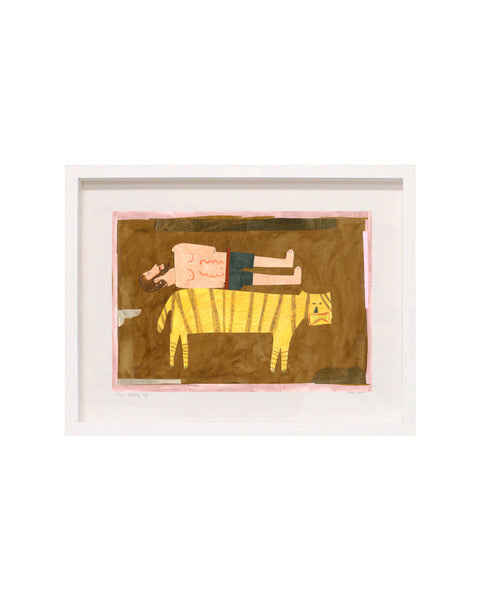 Framed Collage: Man Resting with Tiger
