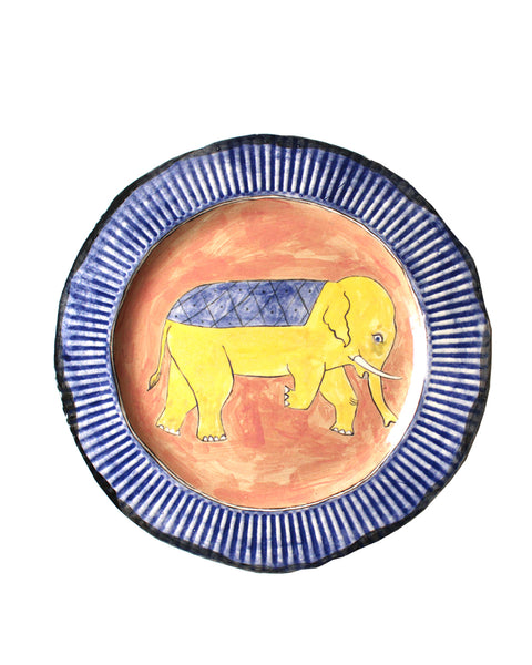 Yellow elephant plate