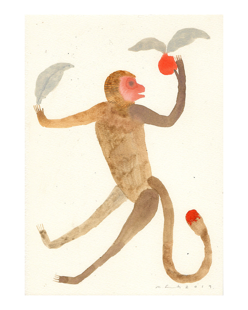 Monkey with Fruits (Original Watercolour)