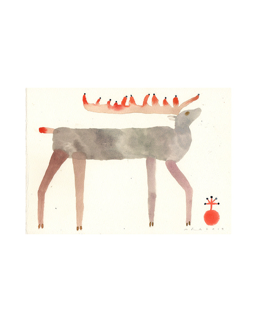 Green Reindeer (Original Watercolour)