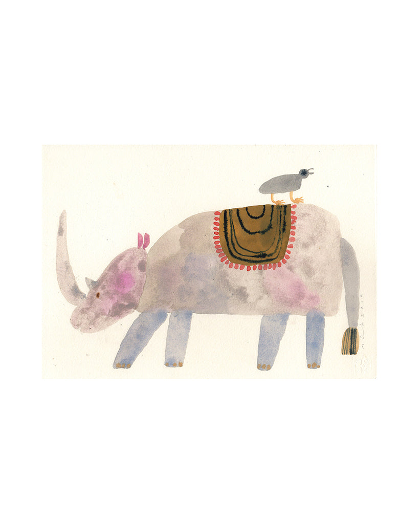 Rhino Carrying Bird (Original Watercolour)