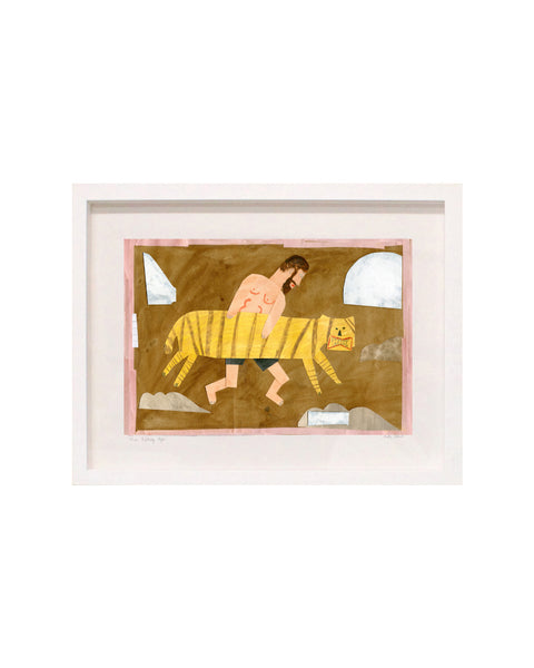 Framed Collage: Man Running with Tiger