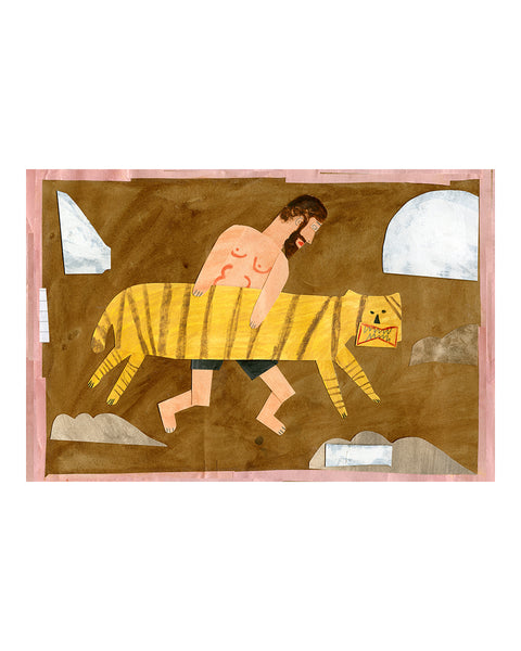 Limited Edition Print: Tiger Wrestler No.2