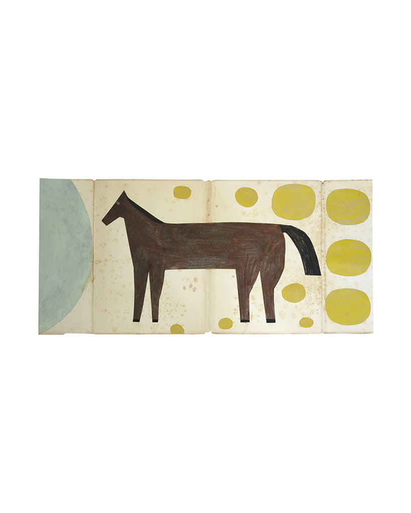 Framed Collage: Horse (Mustard & Blue Ovals)