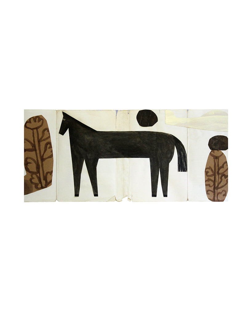 Framed Collage: Horse (Black woth brown Trees)
