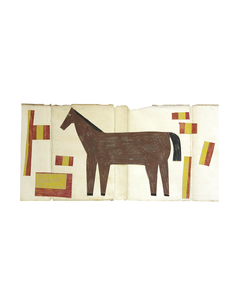 Framed Collage: Horse (Red/Yellow Arrangement)