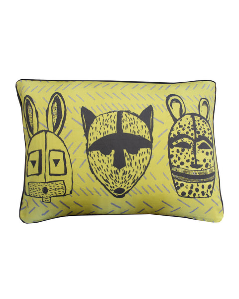 ANIMAL MASK MOSS GREEN - cushion cover