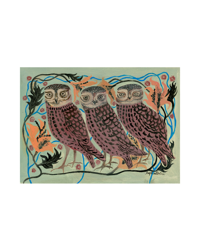 OIL PAINTING | Three Owls
