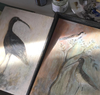 Original Painted Panel - Redshank & Sandpiper