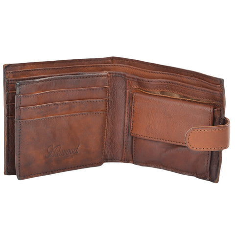 Vintage style leather wallet with coin pocket inside view