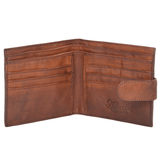 Vintage style leather wallet inside
