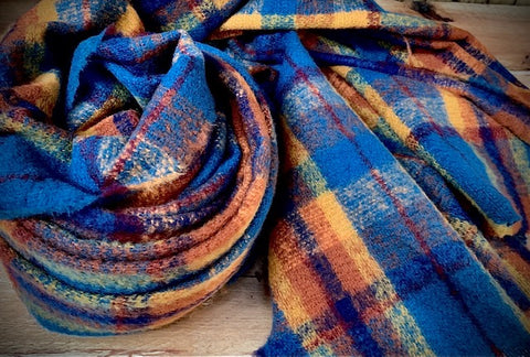 Thick winter scarf in cobalt and copper check