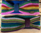 Hand Knitted Head Bands in stripey pattern.