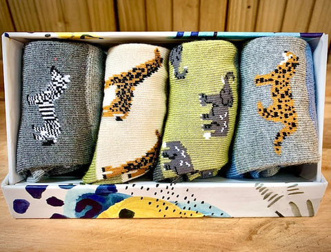 Kids Bamboo Socks gift box Safari