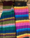 Hand Knitted Leg Warmers in stripey plum or stripey rainbow pattern.
