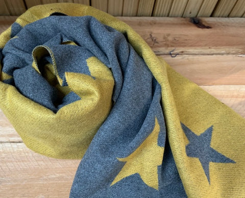 Thick Winter scarf in Charcoal and Mustard star pattern.