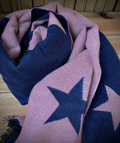 Thick Winter scarf in Navy and Lilac star pattern.