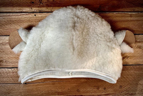 woolly sheep hat with ears